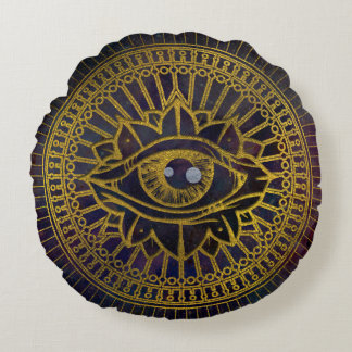 All Seeing Mystic Eye Gold on Nebula Sky Round Pillow
