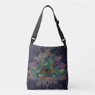All Seeing Mystic Eye in Lotus Flower Crossbody Bag