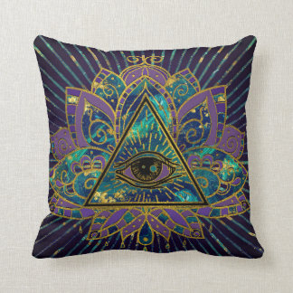 All Seeing Mystic Eye in Lotus Flower Throw Pillow
