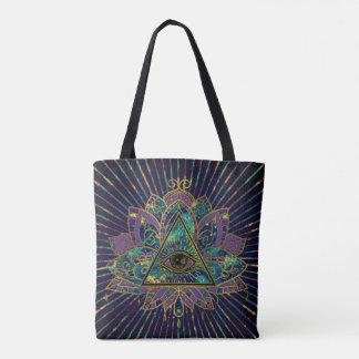 All Seeing Mystic Eye in Lotus Flower Tote Bag