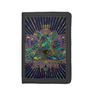 All Seeing Mystic Eye in Lotus Flower Trifold Wallet