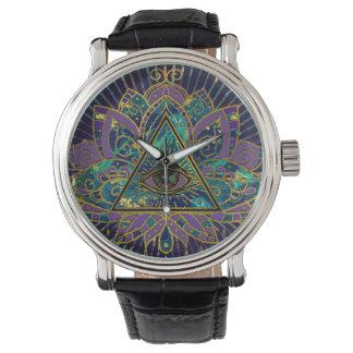 All Seeing Mystic Eye in Lotus Flower Watch