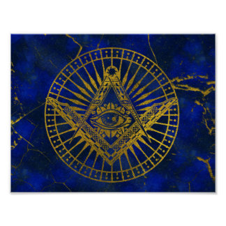 All Seeing Mystic Eye in Masonic Compass on Lapis Poster