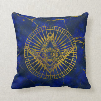 All Seeing Mystic Eye in Masonic Compass on Lapis Throw Pillow