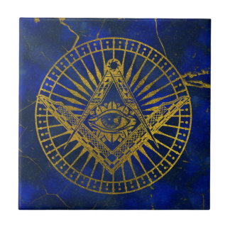 All Seeing Mystic Eye in Masonic Compass on Lapis Tile