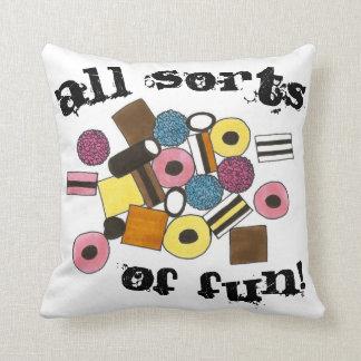 All Sorts of Fun Licorice Allsorts Candy Liquorice Throw Pillow