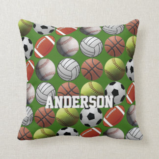 All Sport with Name on Green Throw Pillow