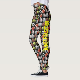 All Sports Balls on Black with Name Leggings