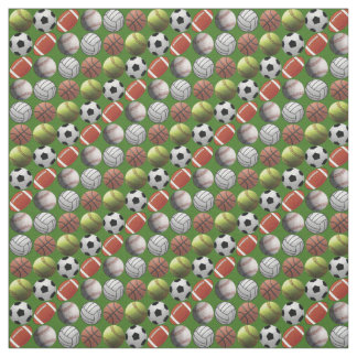All Sports Balls on Green Background Fabric