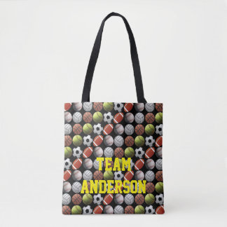 All Sports Balls Team Name Tote Bag