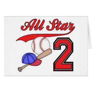 All Star Baseball 2nd Birthday Invitations Note Card