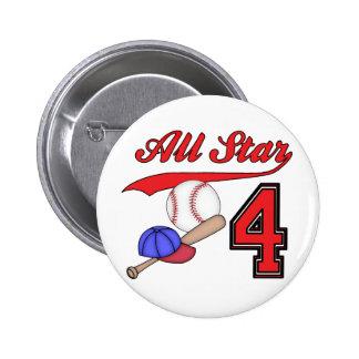 All Star Baseball 4th Birthday Buttons