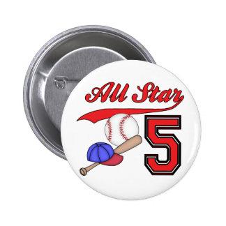 All Star Baseball 5th Birthday Buttons