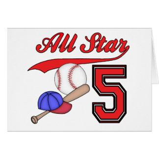 All Star Baseball 5th Birthday Invitations Note Card