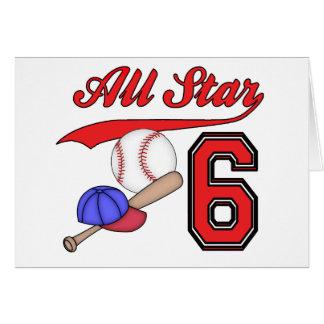 All Star Baseball 6th Birthday Invitations Card