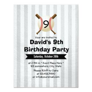 "All-Star Baseball Themed Boy 9th Birthday Party 4.25"" X 5.5"" Invitation Card"