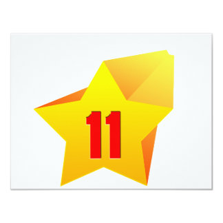 """All Star Eleven years old! Birthday 4.25"""" X 5.5"""" Invitation Card"""