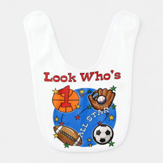 All Star Sports 1st Birthday Bib