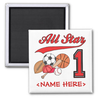 All Star Sports 1st Birthday Square Magnet