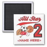 All Star Sports 2nd Birthday Magnets