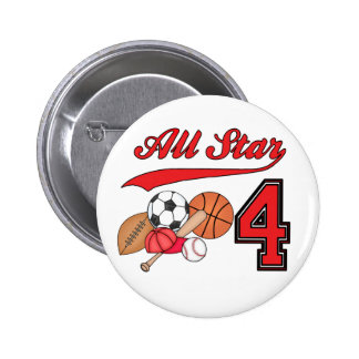 All Star Sports 4th Birthday Button
