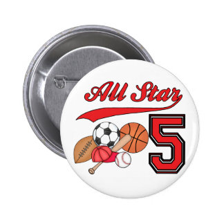 All Star Sports 5th Birthday Pins