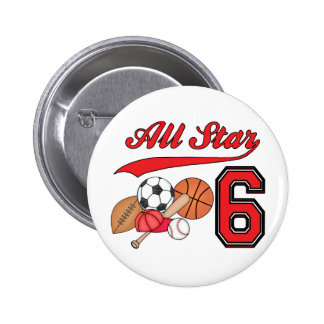 All Star Sports 6th Birthday Pinback Buttons