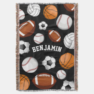 All-Star Sports Assortment Personalized Name Black Throw Blanket