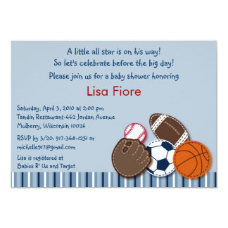 All Star Sports Ball Baby Shower Invitations