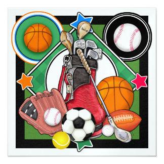 "All Star Sports Banquet / Event 5.25"" Square Invitation Card"