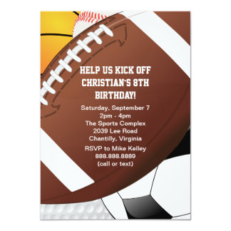 "All Star Sports Birthday Party 4.5"" X 6.25"" Invitation Card"