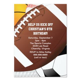 "All Star Sports Birthday Party 4.5"" X 6.25"" Invitation Card"