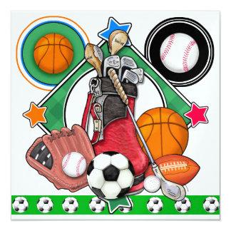 """All Star Sports Event 5.25"""" Square Invitation Card"""