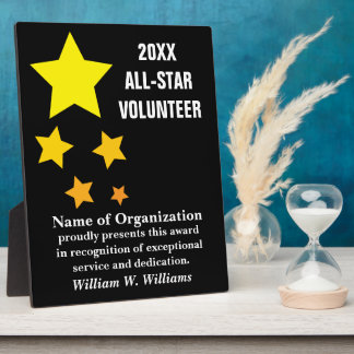 All-Star Volunteer Service Recognition Award Photo Plaque