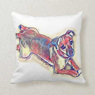 All tan Jack Russell terrier Throw Pillow
