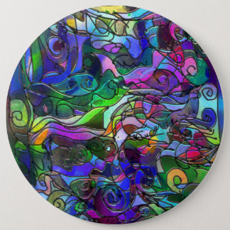 All the Colors with Swirls and Lines 6 Inch Round Button