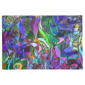 All the Colors with Swirls and Lines Doormat
