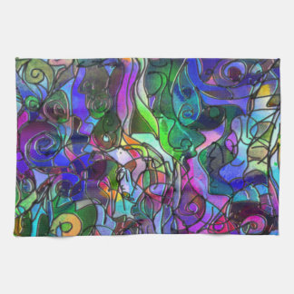 All the Colors with Swirls and Lines Kitchen Towel