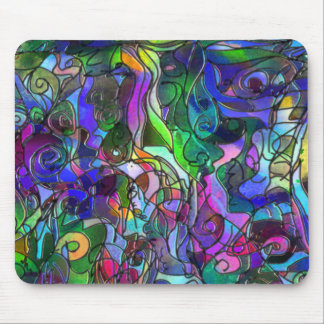 All the Colors with Swirls and Lines Mouse Pad