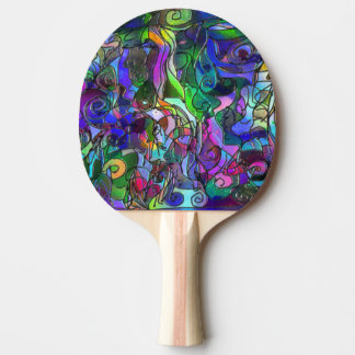 All the Colors with Swirls and Lines Ping Pong Paddle
