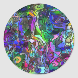 All the Colors with Swirls and Lines Round Sticker