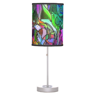 All the Colors with Swirls and Lines Table Lamp