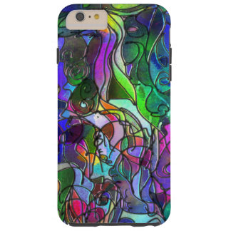 All the Colors with Swirls and Lines Tough iPhone 6 Plus Case