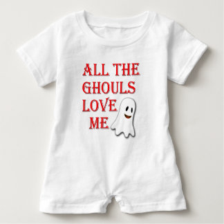 All The Ghouls Love Me Ghost Red Baby Romper