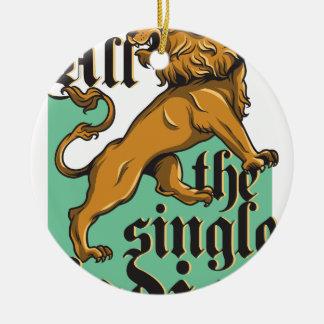 all the single ladies, vintage lion round ceramic ornament