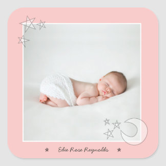 ALL THE STARS IN THE SKY-BLUSH PINK SQUARE STICKER