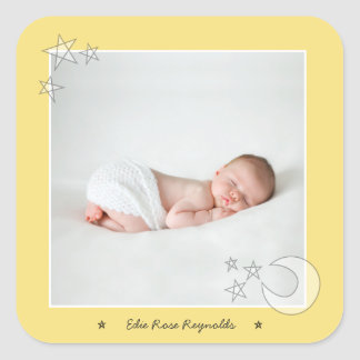 ALL THE STARS IN THE SKY-STAR SHINE YELLOW SQUARE STICKER