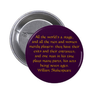 All the world's a stage 2 inch round button