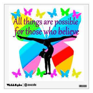ALL THINGS ARE POSSIBLE FOR THIS GYMNASTICS GIRL WALL DECAL