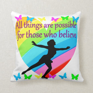ALL THINGS ARE POSSIBLE FOR THIS SKATER THROW PILLOW